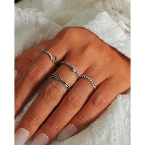 Rhinestone & Hollow Heart Ring Set 4pcs